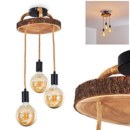 Suspension Garland en bois, corde et métal noir, 3 lampes pendantes vintages idéales au dessus d'une table rétro, pour 3 ampoules E27 max. 60 Watt, compatible ampoules LED