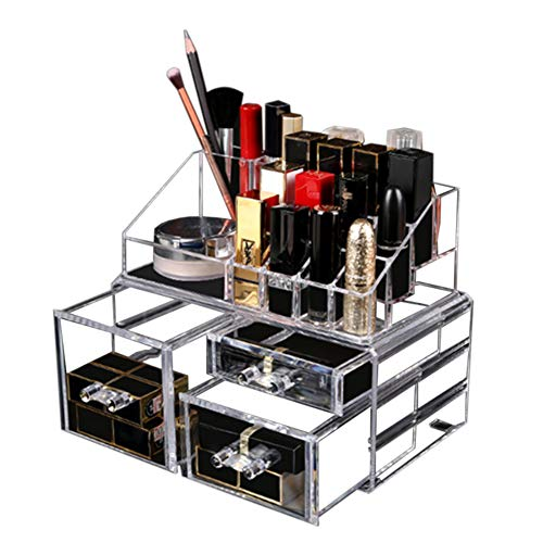 PERSUN コスメ収納ボックス メイクボックス 化粧品収納ボックス 透明化粧品ケース アクセサリー収納 小物入れ 化粧品入れ アクリル 大容量 水洗い可能 アクリルケース 引き出し式 女子へのギフト