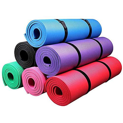 Kemket Esterilla antideslizante para ejercicios, fitness o yoga, 10 y 15 mm de alta densidad, anti-roturas, con correa de transporte, rosa