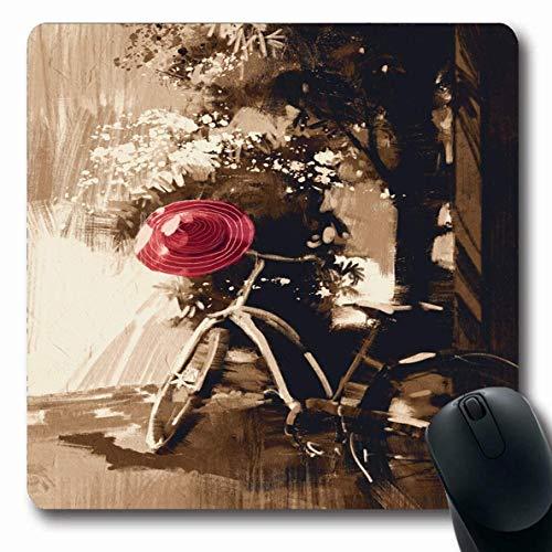 Jamron Mousepad OblongWatercolor Oil Vintage Fahrrad Red Hat Am Sommertag Sepia Wand Digital Painting Tree Bike City Rutschfeste Gummi Mauspad B眉ro Computer Computer Laptop Mat