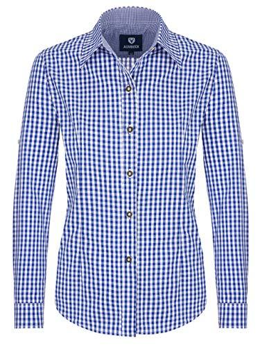 ALMBOCK Trachtenbluse Damen langarm - Karierte Bluse dunkel-blau kariert aus 100% Baumwolle - Festliche Blusen in Größe 34-46