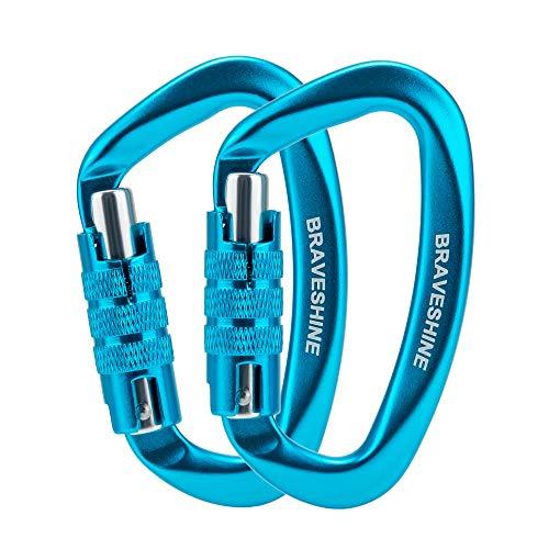 BRAVESHINE 12KN Auto-Locking Karabiner Schlüsselanhänger, 1200KG Bruchlast Karabiner Strong, D-Ring Legierung Karabiner Schlüsselanhänger Karabinerhaken für Hängematte Camping Wandern (2 Stück,Blau)