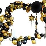 BZLEK 109 Globos Oro Negro Confeti Globos Lámina Látex, Pancarta Feliz Cumpleaños, Cumpleaños Graduacion Año Nuevo Fiest Decoraciones