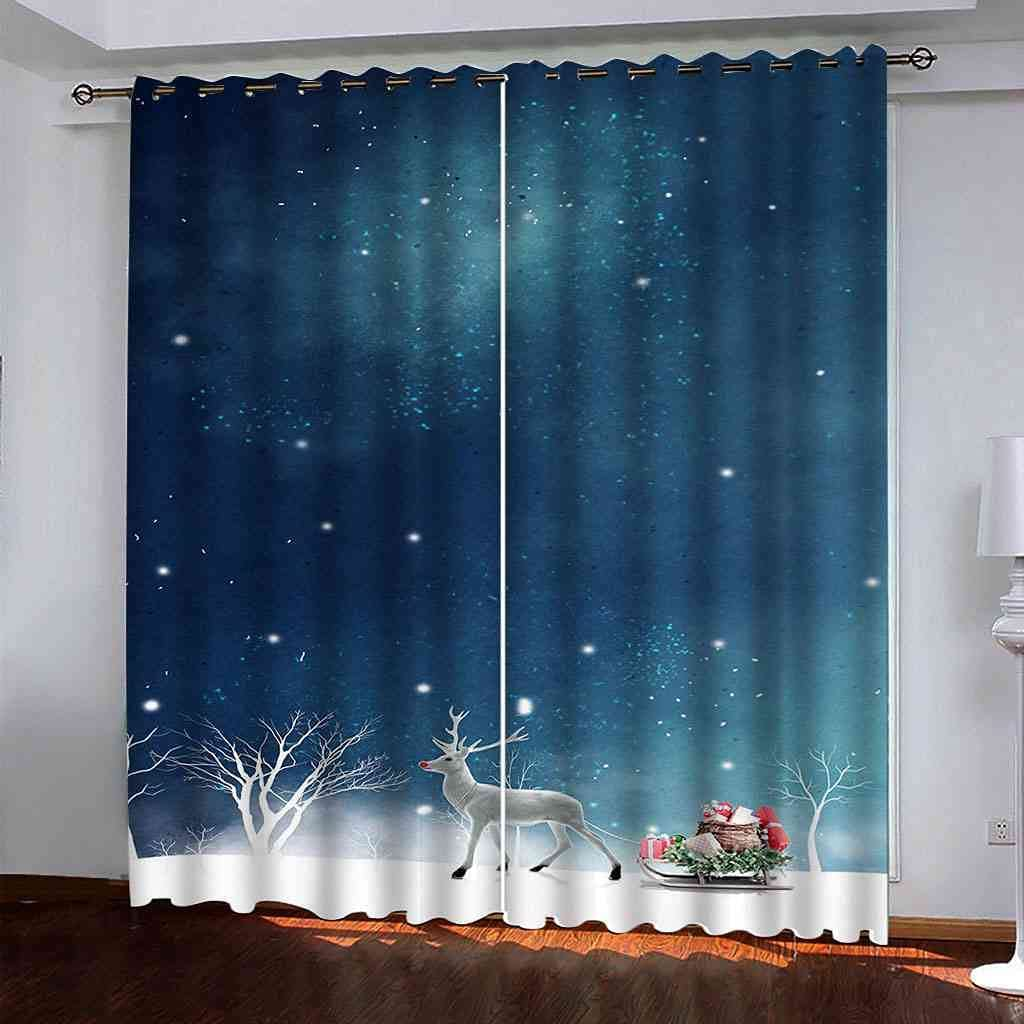 YLZXFY Grommet Creative Blackout Max 44% OFF Cheap mail order sales Curtains blue elk Christmas in
