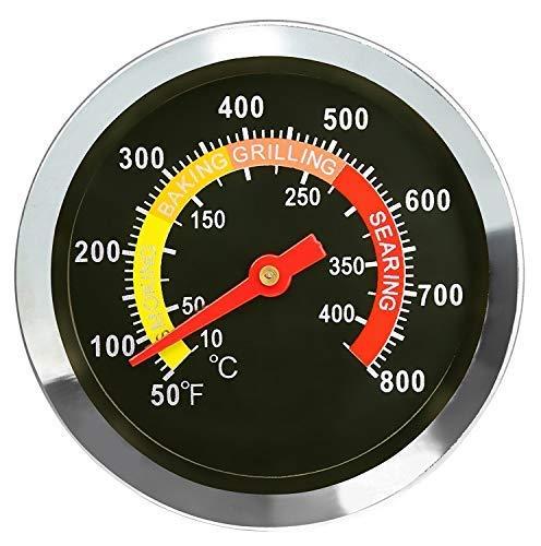 Denmay 01T08 Edelstahl-Thermometer, 6 cm Durchmesser, für den Außenbereich, BBQ, Smoker, Grill, Temperaturanzeige