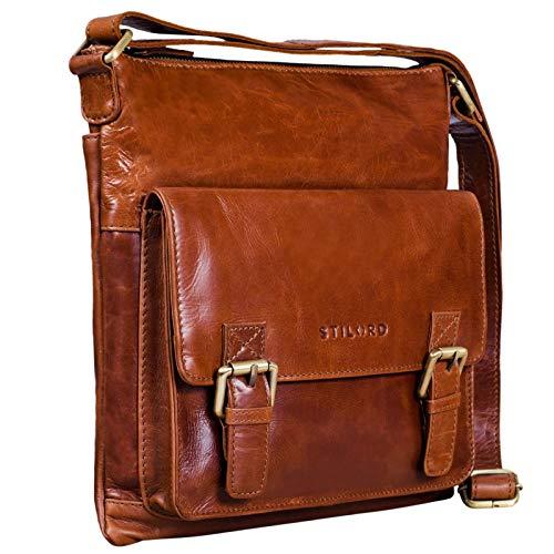 STILORD 'Leo' lederen schoudertas vintage bruin voor mannen kleine schoudertas voor 10,1 inch tablet iPad DIN A5 documenten unisex handtas echt leer, Kleur:cognac - glimmend