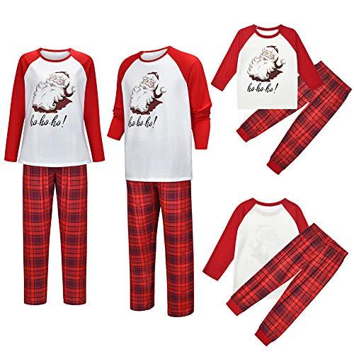 Webuyii Conjunto de Pijamas de Navidad a Juego con la Familia Conjunto de Pijamas a Cuadros con Estampado de Papá Noel, Conjunto de Padres e Hijos para mamá L