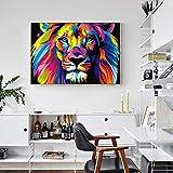 Zoom IMG-2 ganlanshu Aquarelle Lion Mur Art