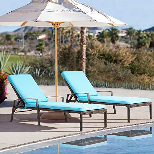 Pamapic Patio Lounge Chair Set 2 Pieces, Patio Chaise Lounges with Thickened Cushion, PE Rattan Steel Frame Pool Lounge Chair Set for Patio Backyard Porch Garden Poolside (Tiffany)