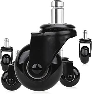 Timagebreze 5 Pcs Replacement Chair Caster Wheels 2 inch, Heavy Duty Wheels with Plug-In Stem 7/16 X 7/8 inch,Quiet & Smoo...