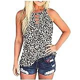 VEMOW Chaleco Camisola Verano Chaleco Suelto para Mujer Cuello Redondo, Sexy Elegante Béisbol Camiseta de Tirantes Informal Camisa de Deporte Impresión de Leopardo Tie Dye Fiesta Tops(Blanco,S)