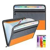 Clasificadora Carpeta de Acordeon, A4 Organizador de Archivos Portátil Documentos de Cremallera Clasificador con 13 Compartimientos y Etiqueta de Color (naranja)