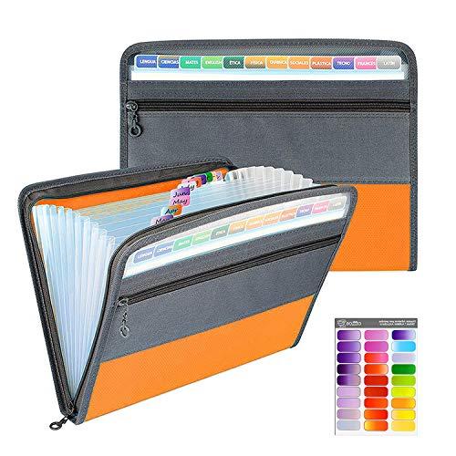 Clasificadora Carpeta de Acordeon, A4 Organizador de Archivos Portátil Documentos de Cremallera...