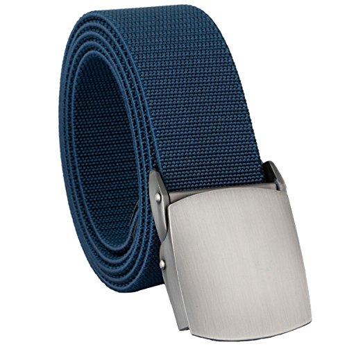 mookaitedecor Unisex Gürtel Elastischer Nylon Belt für Herren und Damen mit Automatisch Schnalle, Blau(metallschnalle), Einheitsgröße