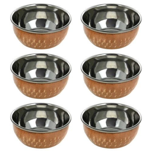 Handmade Katori Indian Dishes - Set of 6 Copper Bowls - Traditional Indian Dinner Plates & Indian Cooking Utensils - Unique Copper Gifts