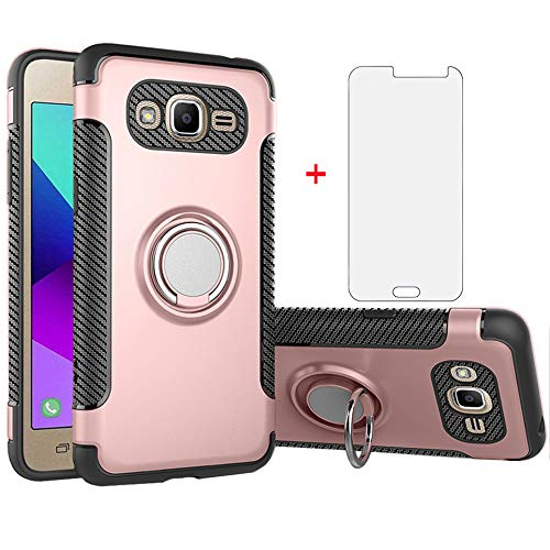 Phone Case for Samsung Galaxy J3 2016/J 3 V/J36V/Sky/Amp Prime with Tempered Glass Screen Protector Cover and Stand Ring Holder Hybrid Cell Accessories Glaxay Sol J3V JV3 J36 6 J320V J320A Rose Gold