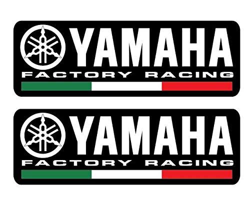 2 Aufkleber Yamaha Factory Racing Team schwarz mit italienischer Flagge M1 R1 R6 R3 R125 2 Stück 130 x 43 mm