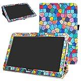MAMA MOUTH Archos 133 Oxygen Coque, Slim Folio PU Cuir Debout Fonction Housse Coque Étui Couverture pour 13.3' Archos 133 Oxygen Android 6.0 Tablet PC,Stained Glass