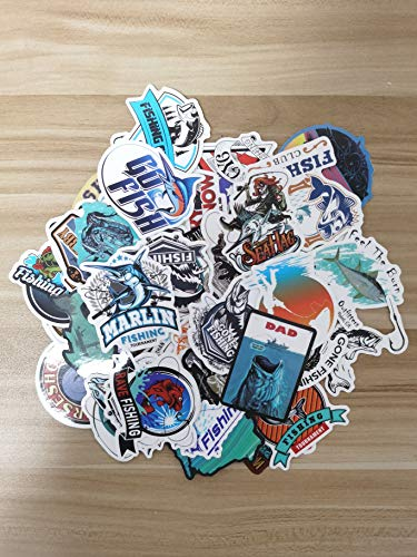 Sweetures Fishing Outdoor Fish Stickers for Waterproof Laptop Stickers Car Bicycle Suitcase Computer Water Bottle Mobile Phone Stickers Water Resistant Decals (50PCS)