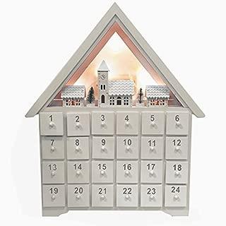 Christmas Advent Calendar クリスマス木製白いアドベントカレンダーハウス24引き出しとLEDライト