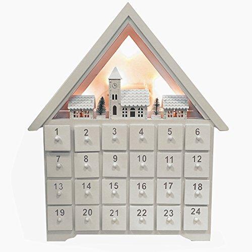Christmas Advent Calendar クリスマス木製いアドベントカレンダーハウス24引き出しとLEDライト (28x6x33.5cm, White)
