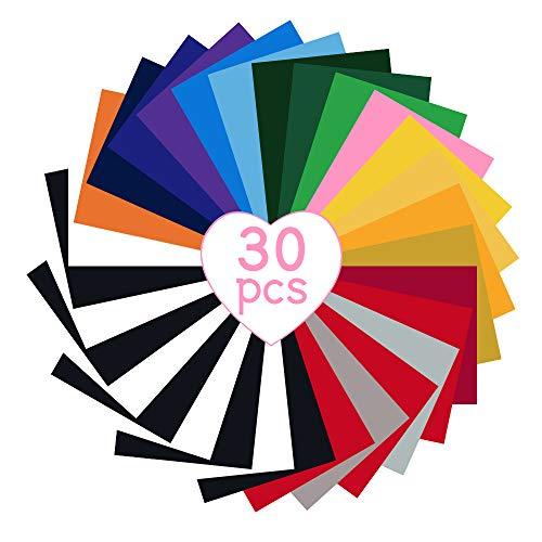 30 Blatt Vinyl Folie - Bunte Vinylfolie Plotter, Permanente Plotterfolie Vinylfolie Flexfolie Transferfolie Plotter, Bügelfolie zum Bedrucken Stoff Wärmetransfer Transferpapier für DIY T-Shirts
