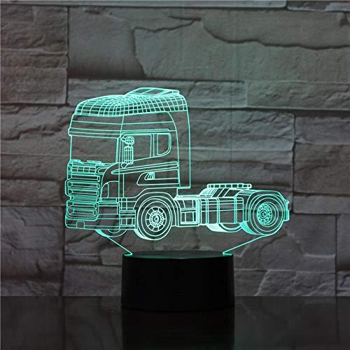 Luz Nocturna 3D Camión Súper Pesado Lámpara De Ilusión Óptica Led Para Niños, 16 Colores De Iluminación Lámpara De Mesa De Noche Para La Decoración Del Partido Presentes De Cumpleaños
