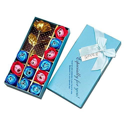 Seifen-Blumenstrauß, 13 Stück, für Damen, Geschenke für Damen, romantisches Geschenk für Geburtstag, Mutter, Frau, Freundin, Heimdekoration (Farbe: Blau)