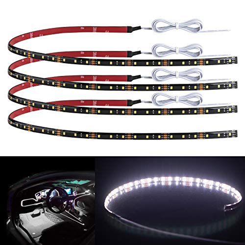 """Geeon 4-Pack 24"""" Daylight White Car Interior LED Strip Light 12V Waterproof IP65 Cuttable Connectable for Automotive Boats Trucks Cargo Trailer Camper-Vans Inside"""
