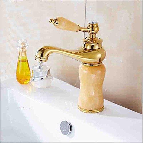 Waterkraan voor de badkamer, met waterkraan en uittrekbare handdouche, draaibaar, wastafelarmatuur, hete en koude waterkraan, marmer, goudkleurig, keramiek, antieke look, badkraan 4