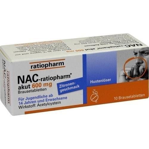 NAC-ratiopharm akut 600 mg Brausetabletten, 10 St. Tabletten
