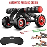FITSY® Automatic Rebound Design 4 Wheel Ab Roller with Knee Mat - Abdominal Workout Fitness Exercise Equipment