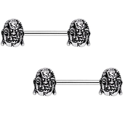 Body Candy Nipplerings Piercing Women 14G Steel 2Pc Evil Buddha Barbell Nipple Ring Set 14mm