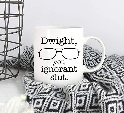 N\A Dwight You Ignorant Slut Mug Taza con Gafas Dwight Schrute The Office Programa de televisión Taza Divertida Taza Dwight Regalo Presente The Office Lover Taza