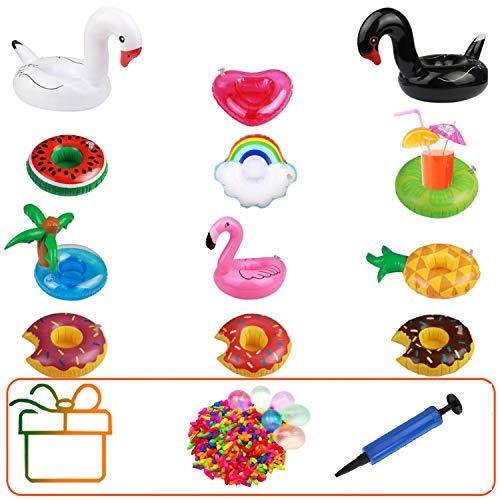 Hook Aufblasbare Getränkehalter, Getränkehalter Pool Spielzeug 12 Stück Flamingo Einhorn...