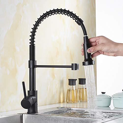 FWZZQ Rubinetto da cucina estraibile nero rubinetto cucina a spirale con doccetta estraibile, rubinetto monocomando miscelatore a 360° girevole in ottone