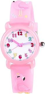 Venhoo Kids Watch 3D Cute Cartoon Waterproof Silicone Children Toddler Wrist Watches Time Teacher Birthday Flamingo Gifts for 3 4 5 6 7 8 Year Girls Little Child-Pink