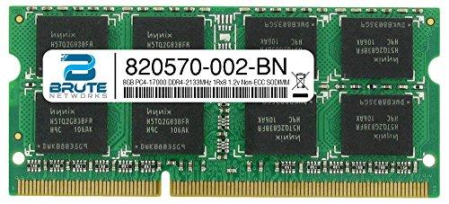 Brute Networks 820570-002-BN - 8GB PC4-17000 DDR4-2133MHz 1Rx8 1.2v Non-ECC SODIMM (Equivalent to OEM PN # 820570-002)
