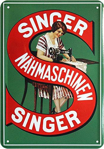 Blechpostkarte NÄHMASCHINEN NUR VON Singer 10x14cm Blechkarte PKM 26