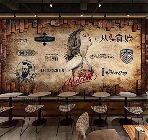 Muurschildering wallpaper poster cementwand schoonheidssalon kapsalon fotobehang 200 cm x 140 cm