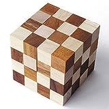 Diabolicubo 4x4 juego rompecabezas a partir de 12 años nivel 6/6. De madera maciza eco-responsable, normas CE marca Le Délirant. Solución ilustrada incluida. Desplegar e intentar reformar el cubo !