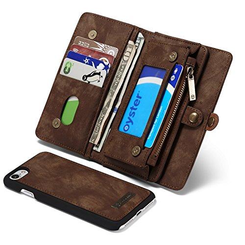 Qilo Cremallera Monedero for iPhone 8 / se2020, 2-en-1 Caja de Cuero Multifuncional con Tarjeta de crédito y Las Ranuras de la Cubierta Obliterable, for iPhone 7 Caso Carcasas y Fundas