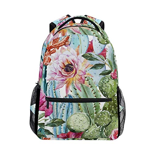 Double Shoulder Bag Cute Flower Flowers Tropical Cactus Student Backpack School Bag Book College Casual Gift Laptop Printed Travel Daypack for Boys Women Girls Men Children