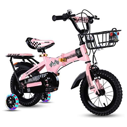Fietsen Kids Fiets mooie kinderfiets vouwfiets kinderfiets met achterbank fiets carbon stalen frame, hulpwiel met licht