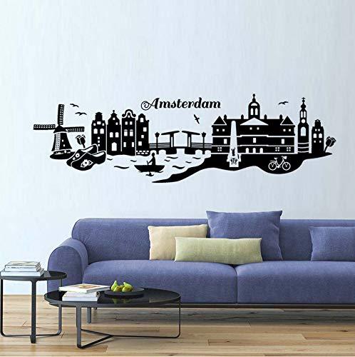 Wuyii Amsterdam Skyline muurtattoo, muurkunst, zelfklevend, voor woonkamer, decoratie, 99 x 29 cm