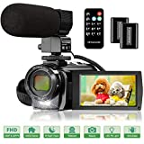 Video Camera Camcorder with Microphone, FHD 1080P 30FPS 24MP Vlogging Camera Recorder 3.0 Inch 270 Degree Rotation Screen 16X Digital Zoom YouTube Camera Camcorder with Remote Control, 2 Batteries