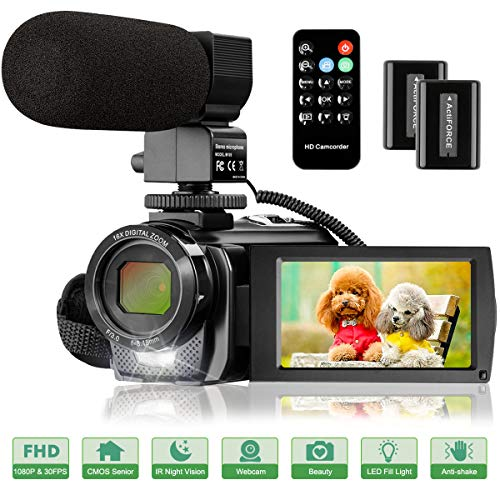Video Camera Camcorder with Microphone, FHD 1080P 30FPS 24MP Vlogging Camera Recorder...