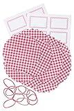 32-teiliges Marmeladendeckchen-Set 150 mm rot kariert mit 10 Vliesdeckchen, 10 Gummis und 12 Etiketten