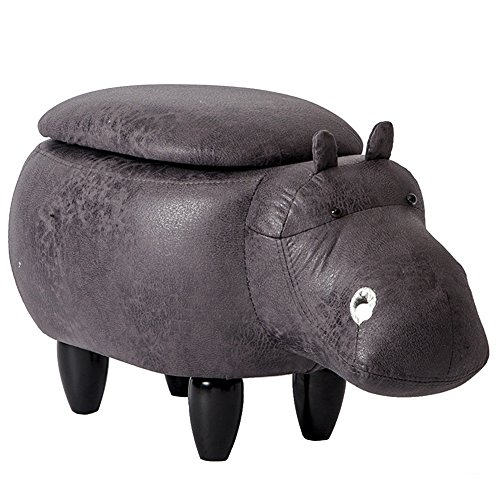 HTDZDX Taburete de Madera Maciza-Taburete otomano Taburete de Almacenamiento Cambio Banco de Zapatos, Muebles creativos Modelo de hipopótamo para Adultos niños, 4 piernas, 65x35x37cm
