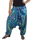 Saroul 3 en 1 Nueva colección Impresa Pantalones de harén Ligeros Hippie Harén Holgado Boho Pantalón Pantalones de Yoga (Azul, Talla única)